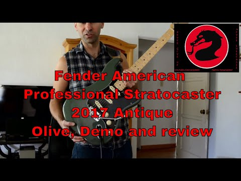 Fender American Professional Stratocaster 2017 Antique Olive, Demo and review