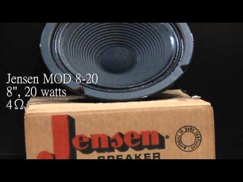 "Jensen MOD 8-20 8"" 4 ohms speaker sound demo"