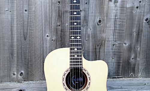 thin neck acoustic guitar, slim neck acoustic guitar, narrow neck acoustic guitar